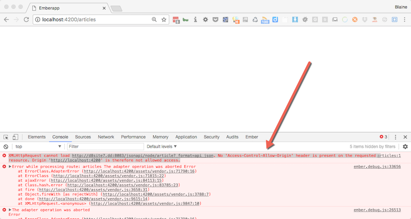 Screenshot of devtools showing CORS issue