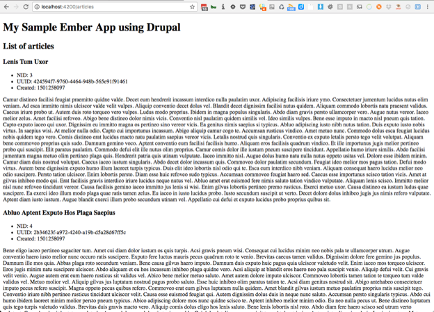 Screenshot of ember app showing article listing