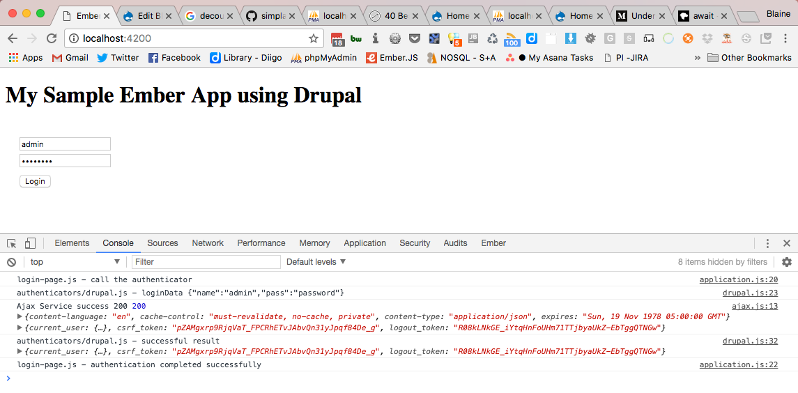 Screenshot of devtools showing successful login