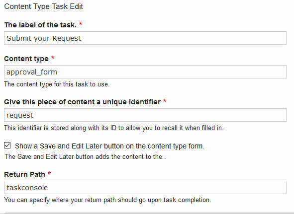Maestro D8 Concepts Content Type Task Edit Options