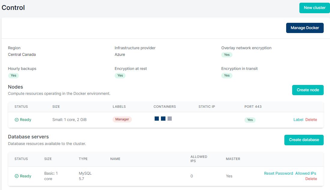 Showing Medstack Control - Container management